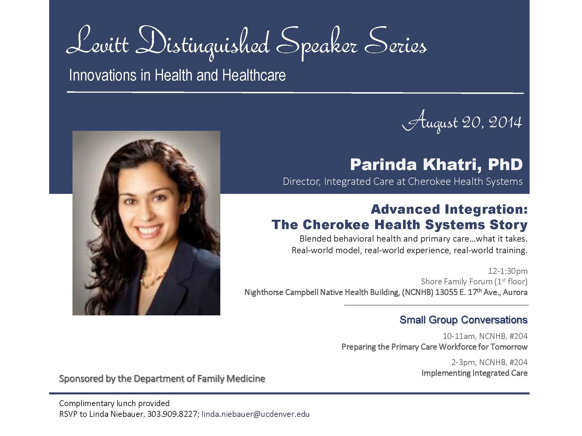Levitt Lecture - Parinda Khatri, PhD